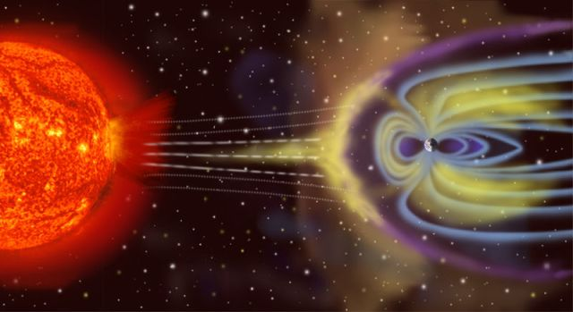 NASA artist's rendition of Earth's magnetosphere.  (Sun & Earth are actually MUCH further apart.)